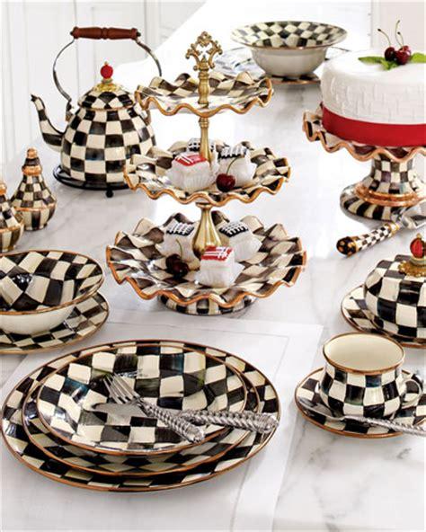 Black And White Checkered Kitchen Ware by Mackenzie Childs Courtly Check Dinnerware