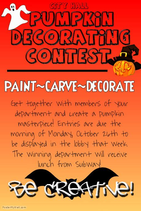competition flyer template free pumpkin decorating contest template postermywall
