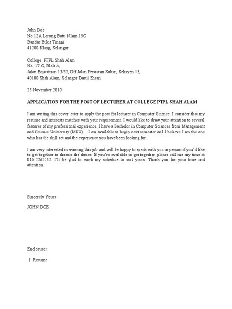 Contoh Application Letter For Hotel Contoh Cover Letter Dan Resume