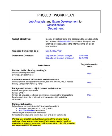8 Sle Work Plans Sle Templates Project Work Plan Template
