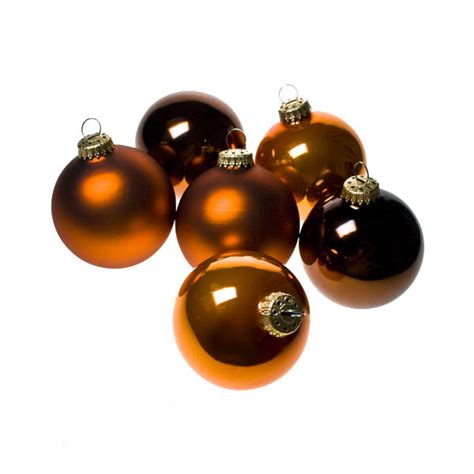 krebs tub of 6 x 8cm brown and orange glass christmas tree