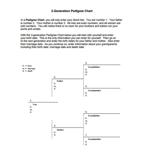 pedigree chart template 5 generation pedigree chart template