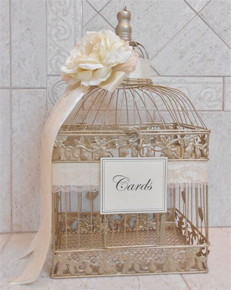 large chagne gold wedding birdcage card holder wedding