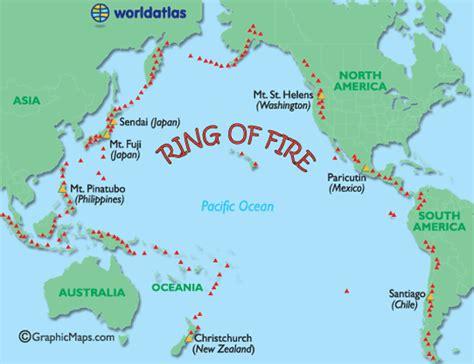 ring  fire map major world volcanoes active world
