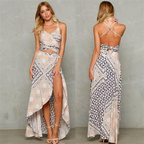 Set 2in1 Longdress summer maxi dress cross backless boho halter high slit dress floral print 2