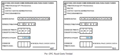 asesoria declaracion renta anual 2012 4ta categoria cpc rusel cierto trinidad c 243 digo de tributo para el pago
