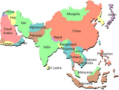 asia map with country names simple asia map with country names s 248 k