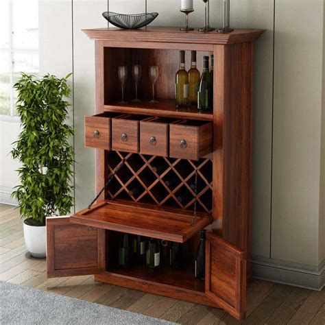 Wine Storage Cabinet Alabama Spacious Handcrafted Solid Wood Bar Cabinet With Wine Storage