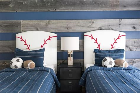 red white and blue sports themed boys room interior gray kids headboard with blue stripe bedding