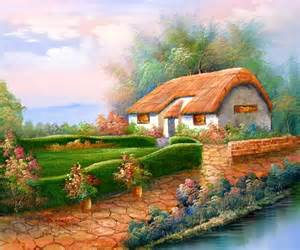 cottage garden paintings country cottage