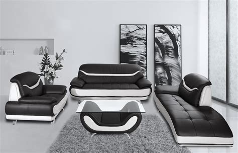 Black And White Chair And Ottoman Design Ideas Bentley Modern Black And White Sofa Set