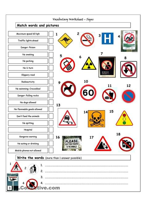 printable road signs worksheets vocabulary matching worksheet signs english language