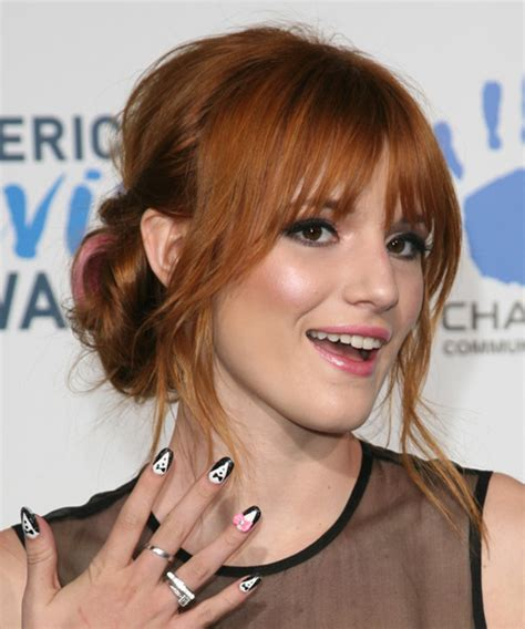 medium haircuts with straight hair and front cowlick bella thorne straight casual updo hairstyle medium red