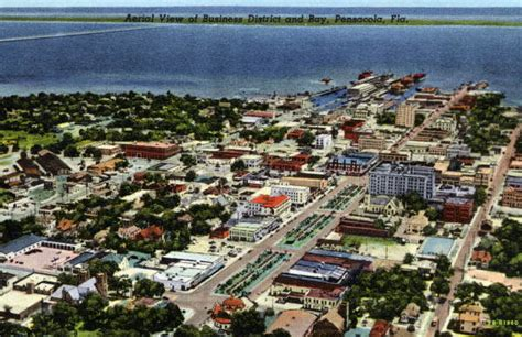 Records Pensacola Fl Florida Memory Aerial View Of Business District And Bay Pensacola Florida
