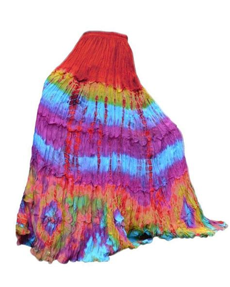 Colourful Skirt colorful tie dye maxi skirt tiered ruffle skirt