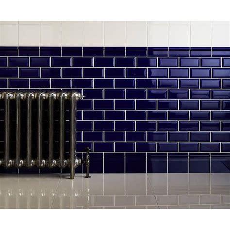Navy Blue Bathroom Ideas metro blue cobalto bevelled 10x20 cm ceramic wall tile by