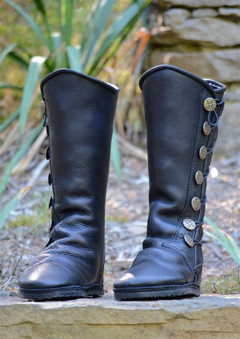Handmade Leather Moccasin Boots - black leather boots custom leather moccasins renaissance