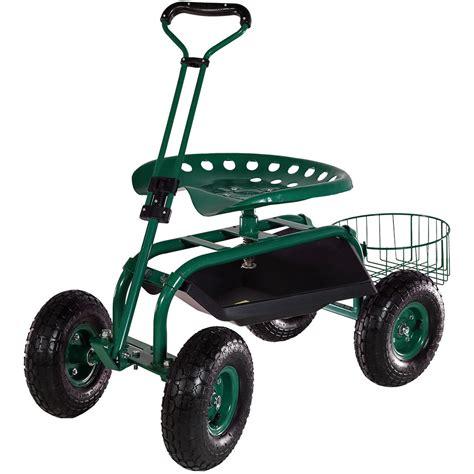 metal rolling garden stool rolling garden cart w extendable steering handle