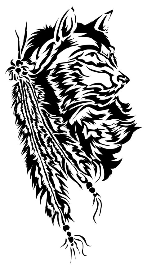 tribal wolf and feathers by starlightsmarti on deviantart