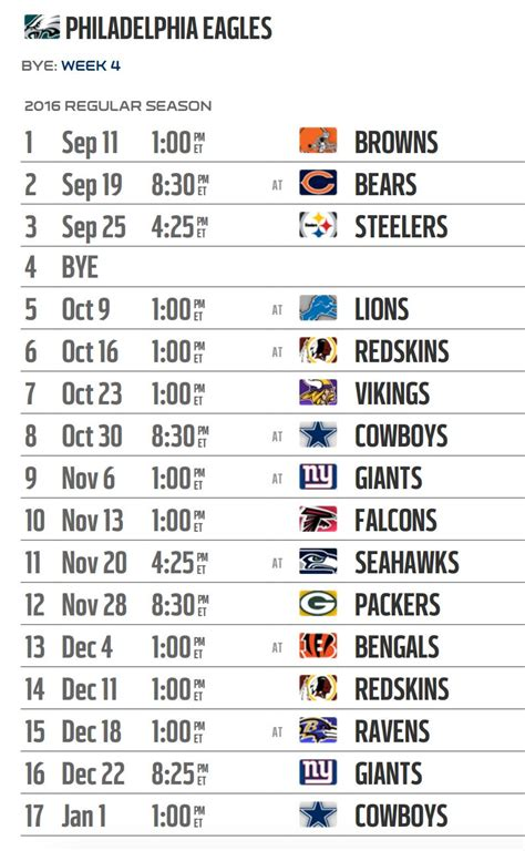 printable eagles schedule 2016 printable nfl full schedule autos post
