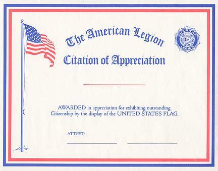 Flag Citation Of Appreciation American Legion Flag Emblem American Legion Business Card Templates