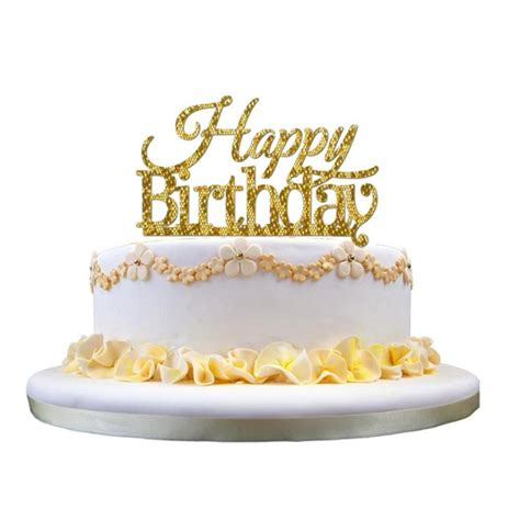 Acrylic Topper For Cake honana cf ct03 happy birthday acrylic cake topper golden shining cake decoration alex nld