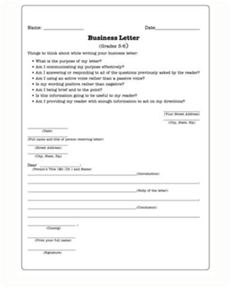 Business Letter Format Handout Business Letters Practice Writing Worksheet For Jumpstart