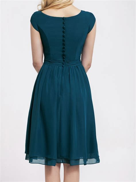 teal color dresses winter color bridesmaid dresses cap sleeve chiffon