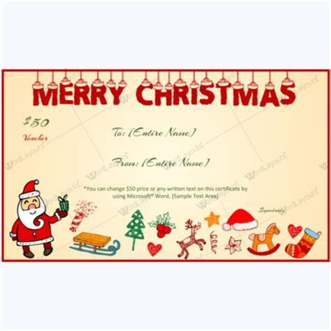 santa gift certificate template merry and happy new year card template word