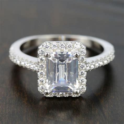 carat emerald cut diamond halo engagement ring