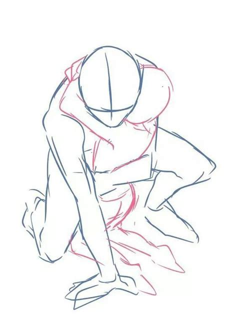 anime poses crouching hug two people pose reference drawing
