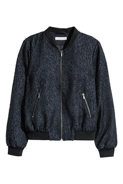womens blue patterned jacket patterned bomber jacket dark blue black sale h m us
