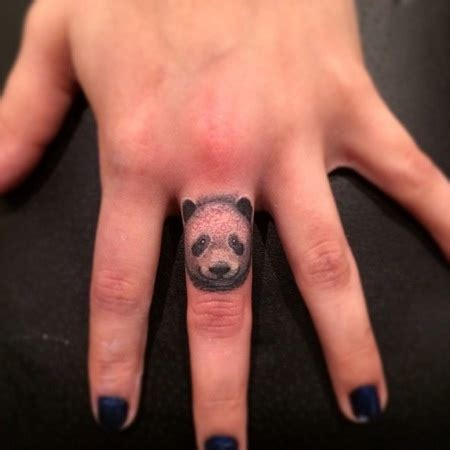 Panda Tattoo On Finger | trending