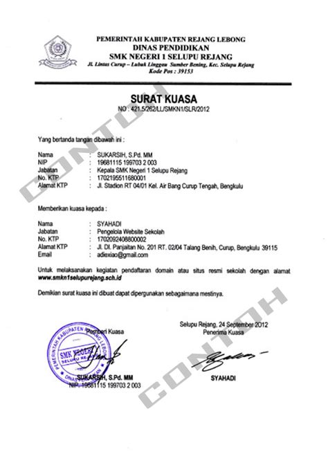 contoh surat kuasa tanah dan bangunan contoh artikel