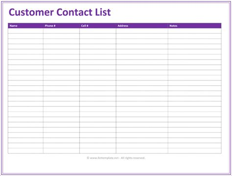contacts spreadsheet template customer contact list template 5 best contact lists