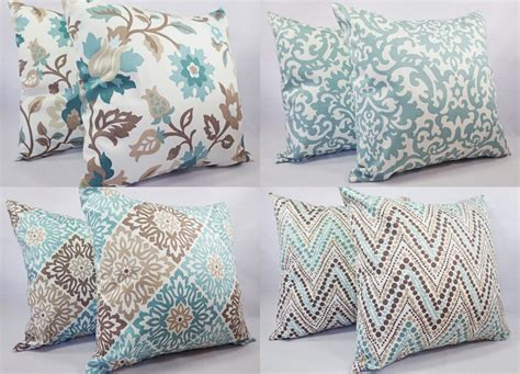 pillows for brown couch two pillow covers 20 x 20 inch blue and by castawaycovedecor