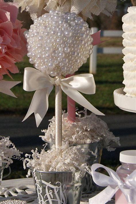 PEARL TOPIARY CENTERPIECE / Baptism Center Pieces / Graduation Centerpiece / First Communion