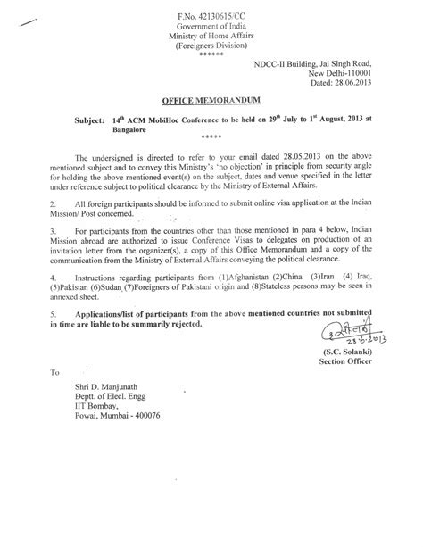Indian Embassy Demand Letter Mobihoc 2013 Visa Information