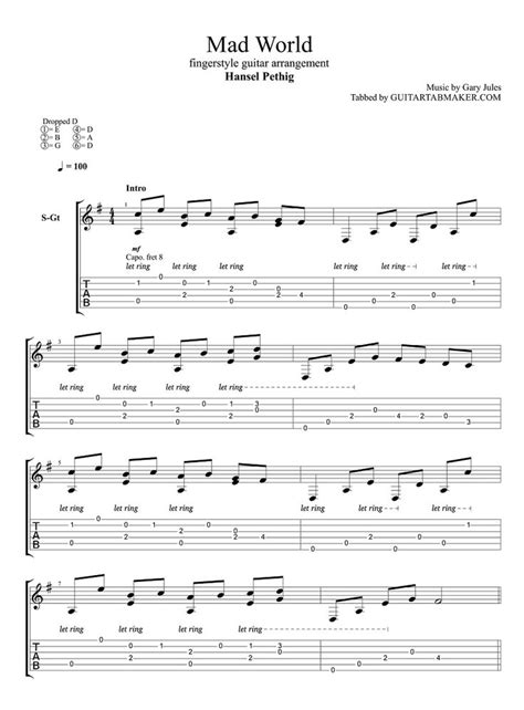 Mad World fingerstyle guitar tab - pdf guitar sheet music