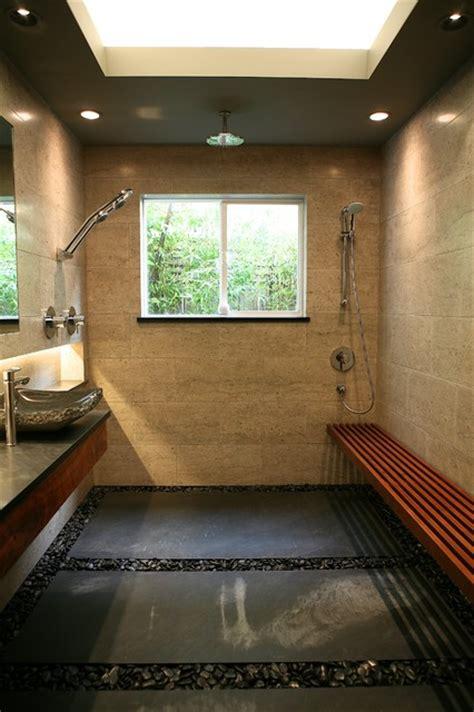 Beautiful Zen Bath   Open Shower with Limestone Tile