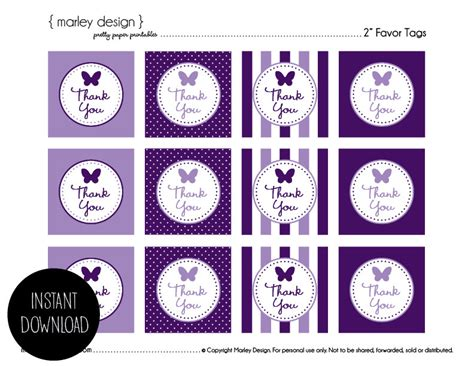 Will You Your Lbd For A Purple Version This Aw by Butterfly Birthday Favor Tags Thank You Labels Printable