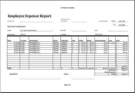 Excel Employee Expense Report Templates Excel Templates Employee Cost Excel Template