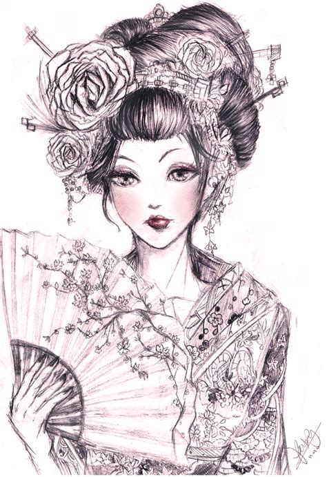 Japanese Geisha Drawings | geisha 2 by kastile on deviantart