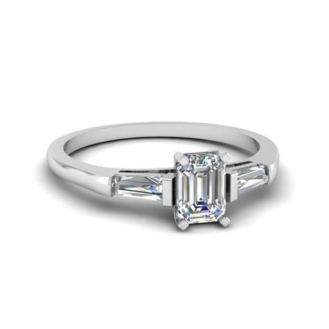 baguette and emerald cut 3 engagement ring