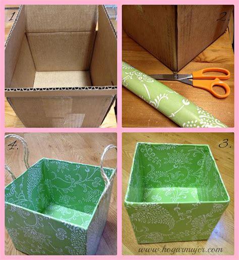 decoracion de cajas de carton reciclado diy contenedores con cajas de cart 243 n hogar pinterest