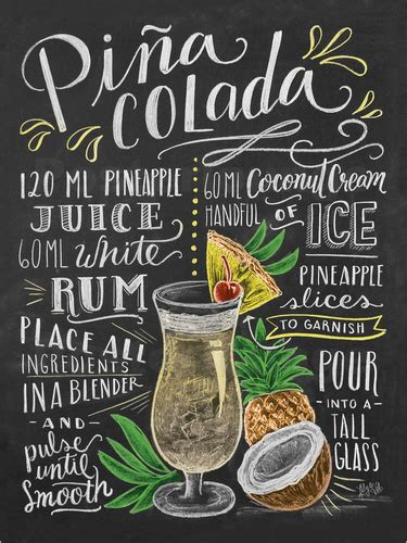 cocktail recipes poster val pina colada recipe poster posterlounge