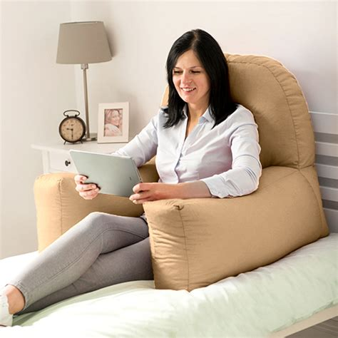 bed study pillow beige cotton chloe bed reading pillow bean bag cushion arm