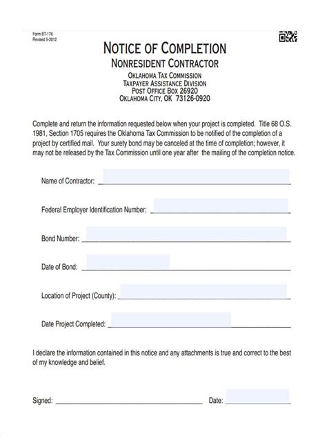 Notice Of Completion Forms 6 Free Documents In Word Pdf Notice Of Completion Template