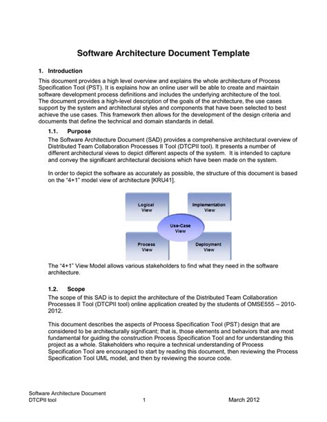 Software Architecture Document Template In Word And Pdf Formats Page 4 Of 13 Software Architecture Document Template