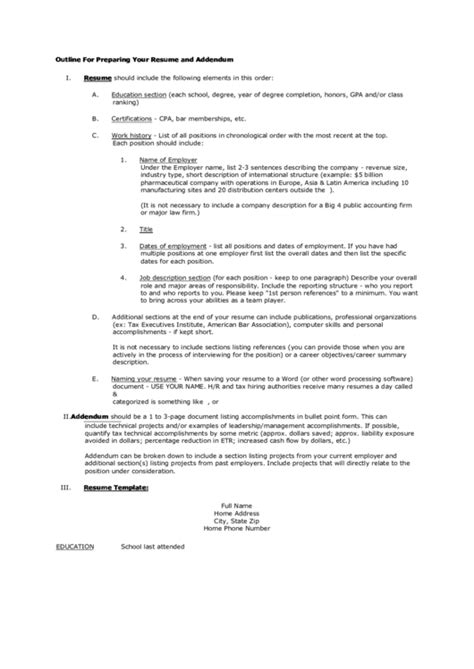 outline for preparing your resume and addendum printable